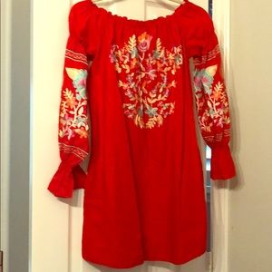 New Free People Red Dress with Floral Embroidery